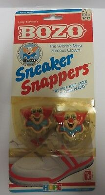 1989 Vintage BOZO CLOWN Sneaker Snappers Bow Biters Keep Shoelace in Place NEW