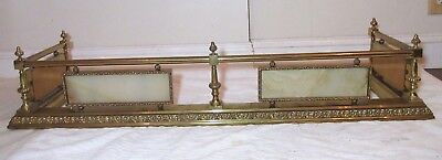 high quality antique ornate gilt brass green onyx stone fireplace fender fencing