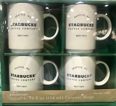4 Pack Starbucks Coffee Company 14 Oz Ceramic Mugs Gift Set New In Package