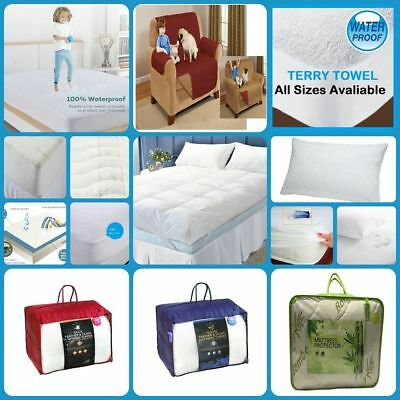 Waterproof Mattress Extra Deep Quilted Topper Enhancer Sofa Protector 4 Designs