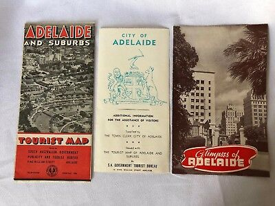 Vintage Adelaide Maps And Tourist Information 1948 1949