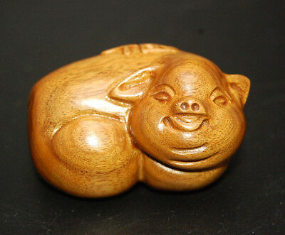 Hand Carved Hard Wood Pig Chinese Zodiac Animal Boar 2019