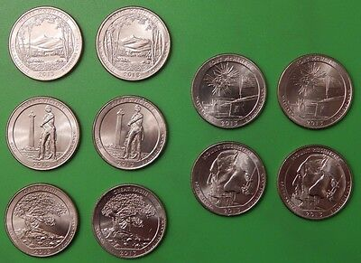 2013 US National Park Quarter Year Set (10 coins) Five P&Five D From Mint Rolls
