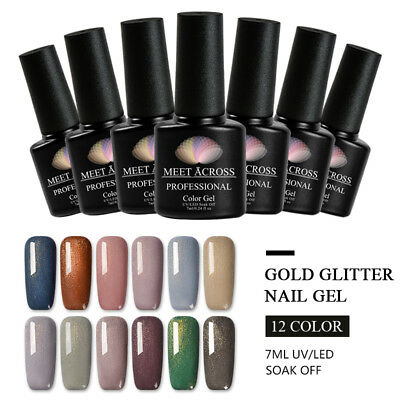 MEET ACROSS 7ml Shimmer Glitter UV Gel Nail Polish Sequins Varnish Manicure DIY