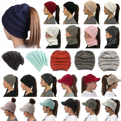 Womens Ponytail Beanie Skull Cap Winter Soft Stretch Cable Knit High Bun Hat Lot