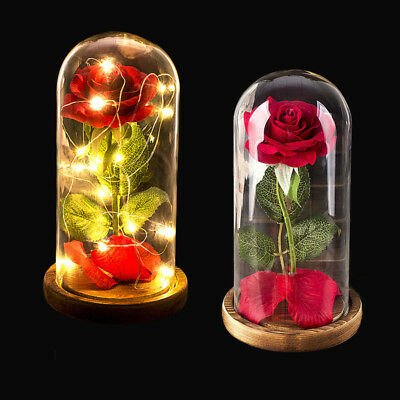 LED Light Glass Dome Roses Artificial Flowers Centerpieces Valentine's Day Gift
