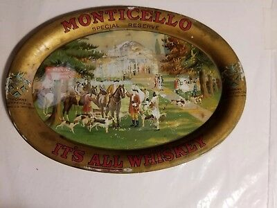 1900s MONTICELLO SPECIAL RESERVE WHISKEY STEEL TIP TRAY, BALTIMORE, MD