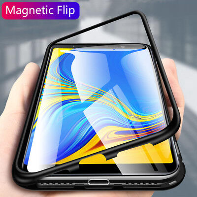 For Samsung A7 A9 2018 Magnetic Absorption Metal Tempered Glass Case Cover