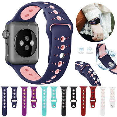 Silicone Sport Watch Band Strap For Apple Watch iWatch 4 3 2 40mm 44mm 38mm 42mm