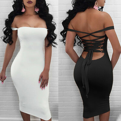 US Sexy Women Bodycon Off Shoulder Cocktail Club Stretchy Midi Dress Slim Dress