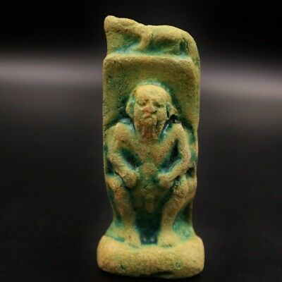 Antique Egyptian Faience Amulet Figurine GOD BES Middle Kingdom Funerary Statue