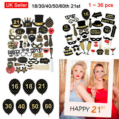 18/30/40/50/60th 21st Frame Photo Booth Props Birthday Party Face Decor Selfie