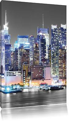 New Yorker Skyline at Night Black/White Canvas Picture Wall Deco Art Print