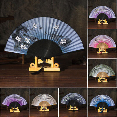 Women Hand Held Silk Flower Butterfly Folding Fan with Bamboo Frame Splendid