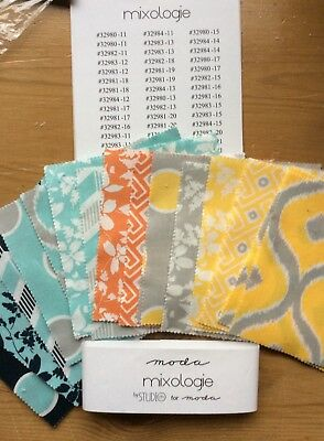 "MODA MIXOLOGIE PACK  of FABRIC SQUARES 5""x5"". NEW"