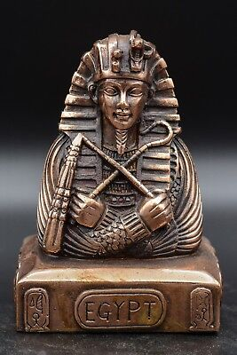 Beautiful Vintage Tutankhamun Egyptian Hand Carved Solid-Stone plated Copper