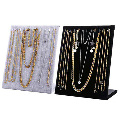 White Velvet Necklace Chain Jewelry Display Holder Stand Easel Organizer Rack