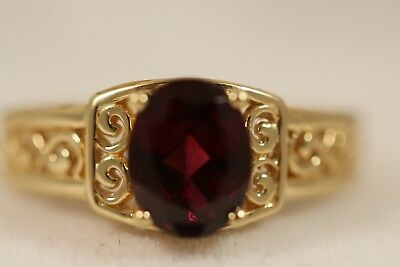 Heavy 14K Yellow Gold Rhodolite Garnet Flower Art Deco Byzantine Etruscan Ring