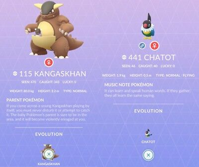 Kangaskhan & Chatot Pokemon Go Regional - By hand no spoof/ bot. 100% Safe Legit
