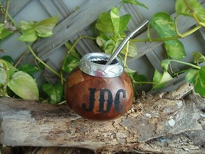 Personalized Mate Calabaza Argentina, Gourd Yerba With Straw Bombilla, Natural