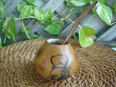 Mate Calabaza Argentina, Gourd Yerba With Straw Bombilla, Engraving Pava