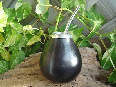 Personalized Mate Calabaza Argentina,Gourd  With Straw, Bombilla, Gourd Black