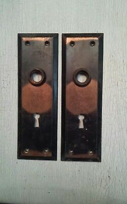 VTG Antique Old Rustic Copper Flash Door Matching Backplates