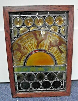 Antique Hand Painted Arts & Crafts Staind Glass Window In Oak Frame