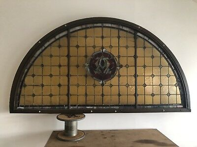 Large Antique Church Half Round Stained Glass Window Architectural Salvage Early