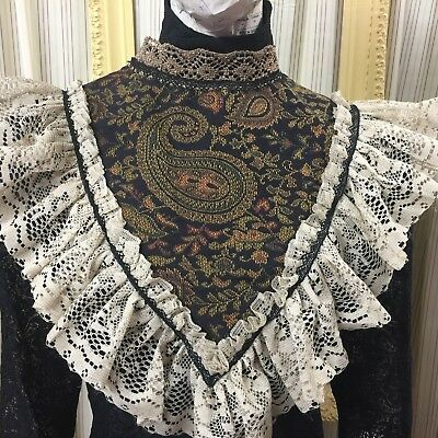 Victorian Black tapestry COLLAR witchy Vamp Gothic Lolita  Steampunk dress 5126