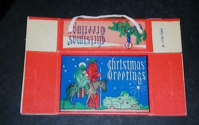 """Vintage Cardboard Christmas candy Box. String handle. """"Holy Family"""". NOS"""