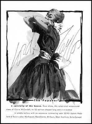 1955 Lord & Taylor Claire McCardell dress the popover vintage art print Ad  ads9