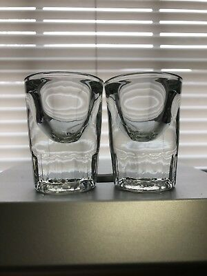 Vintage Super Heavy Thick Walled Glass Libbey Whiskey Shot Glasses Pair Rare