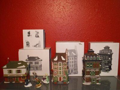 7pc Dept 56 Dickens' Village Series - Scrooge House Nephew Fred's Flat Extra Lot