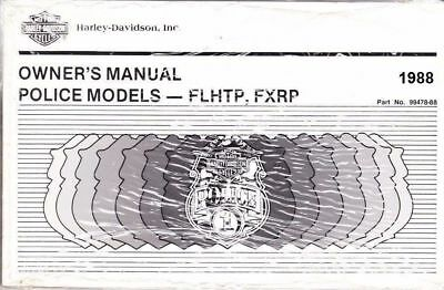1991 Harley Touring POLICE FXRP FLHTP Owner/'s Owners Owner Manual Guide 99478-91