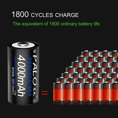 PALO 4pcs 4000mAh C Size Rechargeable Batteries with Cryogenic Exhaust Valve SD