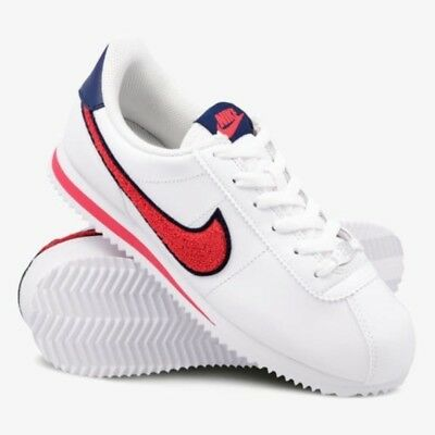 eb33cf49 NIKE CORTEZ BASIC Special SE Leather White Red Blue Trainers Women Girls UK  4