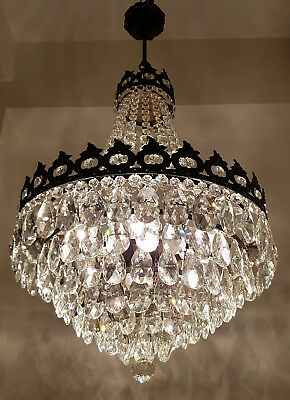 Antique French Style Brass & Crystals GIANT Chandelier Ceiling Light 1950's