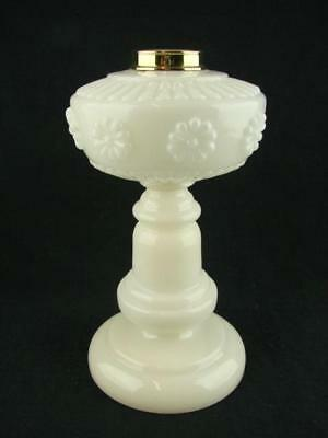 Beautiful Moulded White Opaline Integral Oil Lamp Base & Font, 3.1Cm Screw Fit