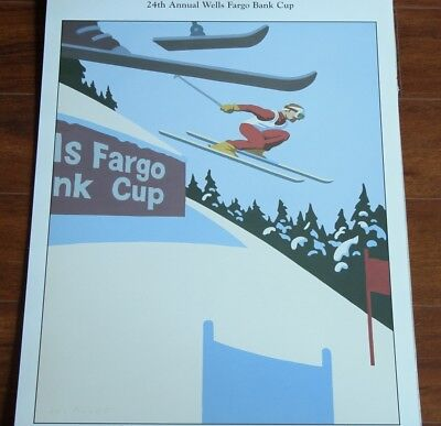 Vtg 90s Winter Park Pro Ski Poster 24th Wells Fargo Bank Cup Pro Skiing Racing