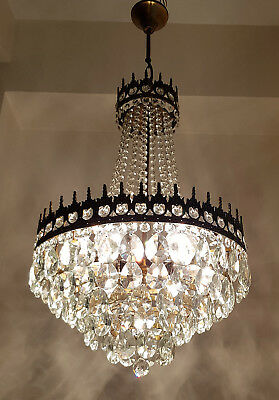 Antique / Vintage French Style Brass & Crystals LARGE Chandelier Lighting 1950's