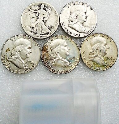 Lot: 5 Silver Half Dollars: 1936-D, '51, '62-D & 1963-D - Shipped Free In Tube
