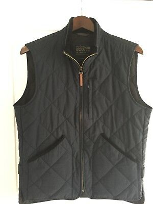 VTG J.Crew Men's Navy Quilted Sussex Vest Jacket Sz Small