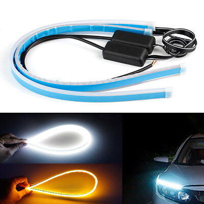 2X 0.3cm Slim Amber Sequential Flexible LED DRL Turn Signal Strip for Headlight