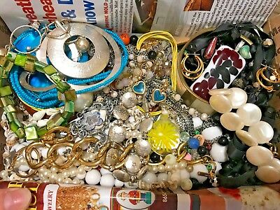 VINTAGE NOW ESTATE JEWELRY LOT WEAR REPAIR 2 LBS UNTESTED Necklaces ANNE KLEIN