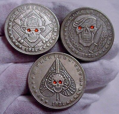 "Set of 3- Hobo Style Morgan DOLLAR SIZE Silver Clad Coins- ""RED EYE"" Series-Sexy"