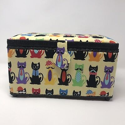 Dritz St. Jane oval sewing basket with divided tray, New with tags, Cats
