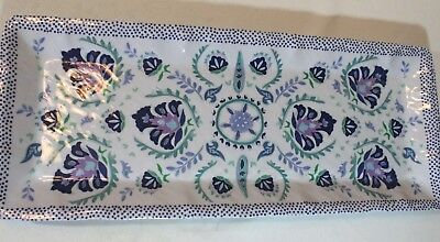 PATINA VIE MELAMINE TRAY PLATE 19x8 Hammered  Floral White Purple Blue Dots