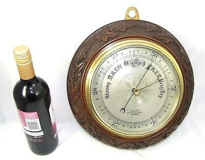 LARGE Antique Carved Oak Barometer J. HICKS 8, 9 & 10 HATTON GARDEN LONDON