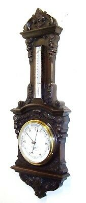 GRAND Antique Carved Oak Aneroid Banjo Barometer BENETFINK CHEAPSIDE LONDON